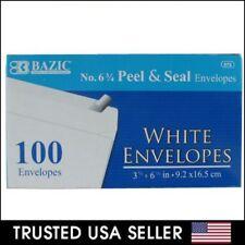 """100 ct WHITE #6 3/4 ENVELOPES Regular 3-5/8"""" x 6-1/2"""" Peel & Stick Self Seal C43"""
