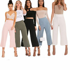 New Ladies Womens Summer Casual Culottes High Waist Wide Trousers Casual Pants