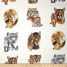 Big Cats Cotton Quilt Fabric Elizabeth Studios Lions Exotic Bfab