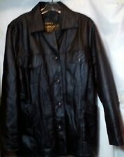 Gio Armand Confection Black Genuine Leather Jacket Coat Made in Italy Size Small