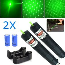 2Pc 50Miles 532nm Green Laser Pointer Star Cap Bright Lazer+16430 Batt+Charger