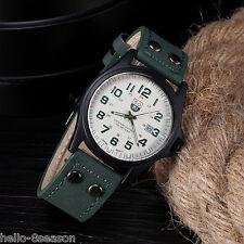 Men Fashion Military Sports Analog Quartz Wrist Watch Faux Leather Date Watch DS