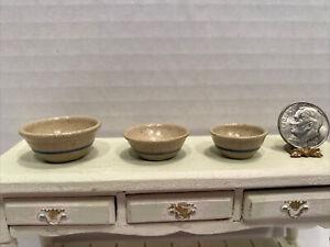 Vintage Artist JANE GRABER 88 92' Salt Glazed Nesting Bowls Dollhouse Miniature