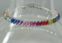 AAA Quality 925 Sterling Silver Lady Jewelry Multi-Color Zircon Tennis Bracelet