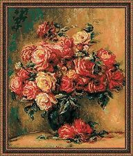 Counted Cross Stitch Kit RIOLIS - BOUQUET of ROSES after Pierre-August Renoir's