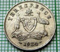 AUSTRALIA GEORGE V 1934 THREEPENCE 3 PENCE, SILVER