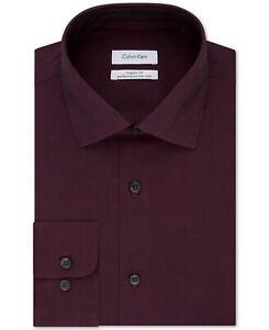 Calvin Klein Mens Dress Shirt Red Size 18 1/2 Performance Non-Iron $75 #189