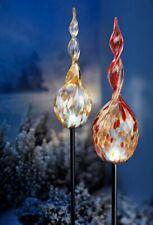 2 XXL Led Gartenstecker Glas Murano Stil Timer Batterie Leuchten Gold Rot Veta