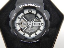 Mens Casio G-Shock Black Rubber Band Analog Digital Watch GA110BW-1A Black/White