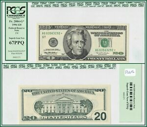 1996 Star $20 Chicago Federal Reserve Note PCGS 67 PPQ Superb Gem New Unc FRN