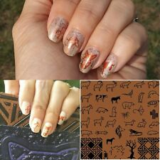 Limited Edition finger nail art stamping plate acrylic 9.5cm Brown Linear Animal