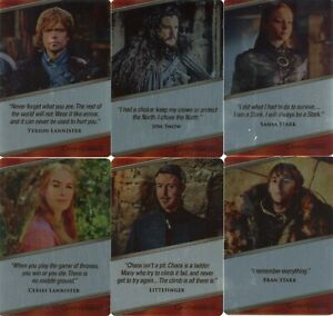 Game of Thrones Iron Anniversary Series 1 Expressions Complete 18 card Metal set