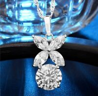 2Ct Round Marquise Cut Diamond Stylish Wedding Pendant & Chain 14K White Gold Fn
