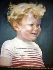 Wonderful Portrait of a Gleeful Fair Hair Young Male Boy Child Signed N. Stahl