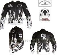 FLAME SKELET BLACK & WHITE MENS MOTORBIKE / MOTORCYCLE & FASHION LEATHER JACKET