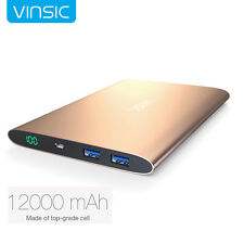 Vinsic 12000mAh External Power Bank Dual USB Battery Charger Pack for Cell Phone