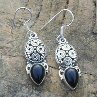 Handmade Black Onyx Gemstone Earrings 925 Sterling Silver Jewelry