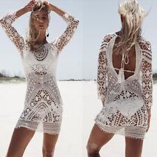 Summer Bikini Cover Up Sarong Dress Swimwear Kaftan Backless Lace Crochet Beach