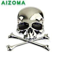 3D Chrome Metal Skull Cross Bone Car Trunk Motorcycle Emblem Badge Decal Sticker