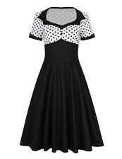 50'S 60'S ROCKABILLY DRESS Fashion Polka Black Swing Pinup Housewife Party Dress