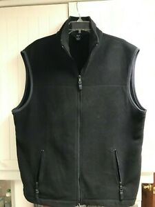 Gap Black with Grey Piping Fleece Vest Front Zip Pockets Men's Size Extra Large
