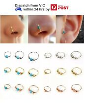 20g Silv Gold Turquoise Bead Lip Ear Nose Ring Hoop Cartilage Piercing 6/8/10 x1