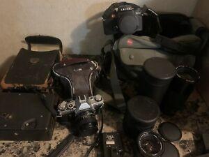 Vintage Leica Camera, Canon AE-1, Several Camera Lenses, & More