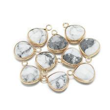 2× Natural Howlite Pendant Faceted Teardrop Golden Creamy White Charm Gemstone
