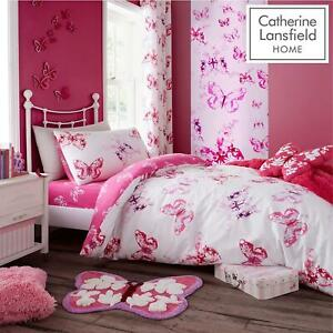 Catherine Lansfield Kids Buttefly Pink Duvet Set Reversible Bedding Curtain