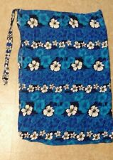 Ladies Blue Floral Long Cover Up Sarong Wrap Skirt》One Size