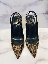 Saint Laurent Paris Leopard Pony Hair Ankle Strap Heels Shoes