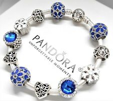 Authentic Pandora Silver Charm Bracelet With Blue Love Heart European Charms.NIB