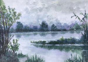 Original Aquarell Landschaft Winter 21 x 29 cm