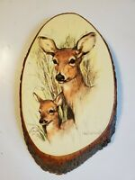 "Paul Whitney Hunter Artist Painting Mama Baby Deer 14"" On Wood  Yellowstone Park"