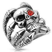 Totenkopf Ring Klaue Skull Eye Auge Edelstahl Massiv Biker Gothic silber CZ rot