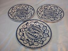 Set of 3 Anfora Handcrafted Mexico Pueblo Blue Pottery Barn Decorative Plates