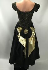 Vtg 80s GOLD LAME Off Shldr Glam Rock Puffy Party Prom LORALIE Dress XS/S Lace
