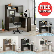 L-Shaped Computer Desk Corner Table w/ Hutch Espresso Compact Size / Design New