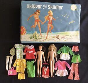 Barbie Vintage 1960's Mattel Skipper & Skooter Scooter Dolls Clothes & Case