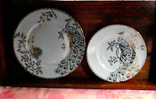 222 Fifth Peacock Garden Turquoise Dinner Plate and Salad Plate Set