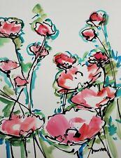 JOSE TRUJILLO 22x30 LARGE Impressionism Watercolor Painting ORIGINAL Flowers II
