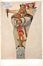 c.1920? sgd. Mucha Independence Art Nouveau Knight with Sword post card