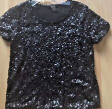 H & M Black Sequined T Shirt Blouse Top size S Lined  EUC Holiday Party  Sequins