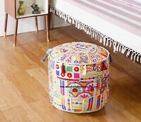 Round Ottoman Pouf in Burgundy decorative Cushion Ethnic Indian Decor Art bohemian stool chair pouffe pouffes Indian floor PILLOW bean bag