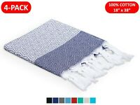 (4-PACK) 100% COTTON TURKISH HAND TOWELS 18x38 FACE HAIR BATH GUEST KITCHEN GYM