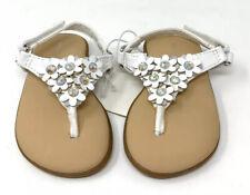 Wonderkids Baby 3D Floral Faux Rhinestone Sandals, Adjustable Strap, White, Sz 3