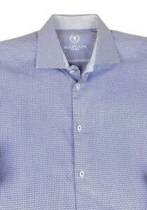 Bugatchi Uomo Men's Dress Shirt 17 1/2 x 36/37 Slim Shaped Fit Geometric Cotton