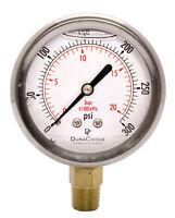 "2-1/2"" Pressure Gauge - Stainless Steel Case, 1/4""NPT, Lower Mnt. 0-300PSI"