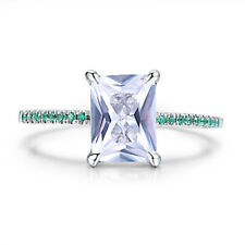 2.05CT Cushion White Topaz &Genuine Emerald Wedding Unique 18k White Gold Ring