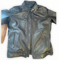 TOMMY HILFIGER Men's Leather Jacket RRP£300 Size 46/ XXL